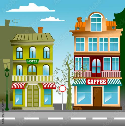 Foto auf AluDibond Gezeichnet Straßenkaffee town