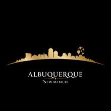 Albuquerque New Mexico City Skyline Silhouette Black Background