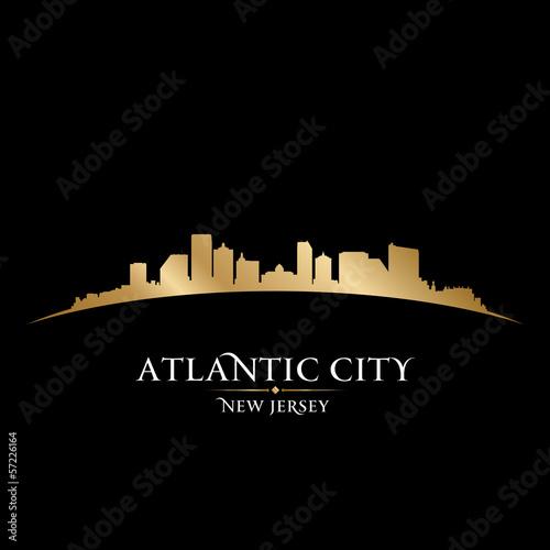 Fotografia  Atlantic city New Jersey skyline silhouette black background