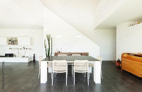 Fotografía  Modern villa, interior, dining table view