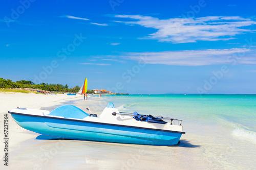 Varadero beach in Cuba with a paddle boat Wallpaper Mural