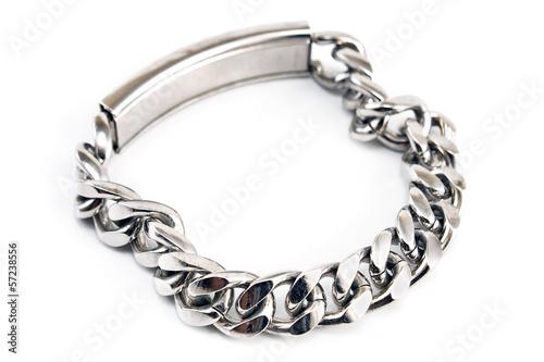 Fotografía  Silver bracelet isolated on white
