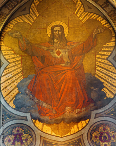 Antwerp - Fresco of Jesus heart in main apse of Joriskerk
