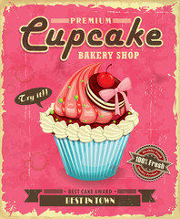 Panel Szklany Do cukierni Vintage cupcake poster design