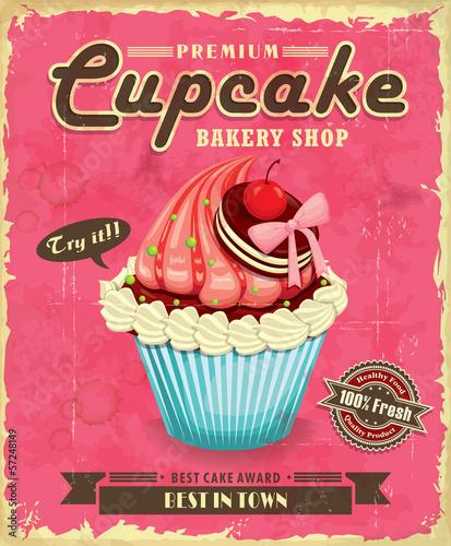 Vintage cupcake poster design - 57248149