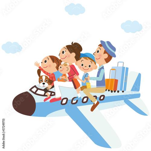 Fotografie, Obraz  飛行機に乗って家族旅行