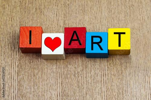 Fotografía  I Love Art  - sign for education, art and culture