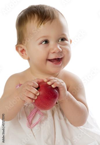 Slika na platnu baby girl with apple