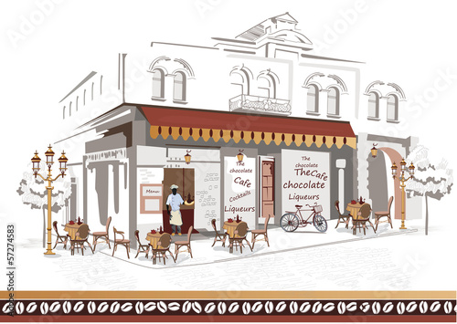 Keuken foto achterwand Drawn Street cafe Series of street cafes with a cook