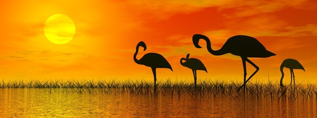Panel SzklanyFlamingos by sunset - 3D render