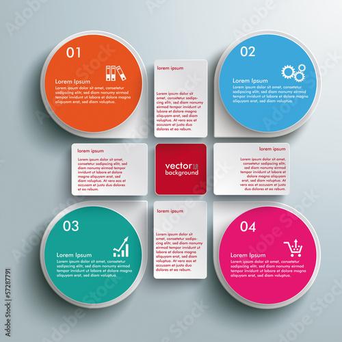 Fototapeta Infographic Colored Drops Cross Rectangles 4 Options obraz na płótnie