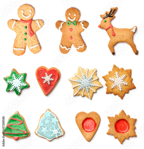 Christmas Gingerbread Cookies Collection Set Buy This Stock Photo