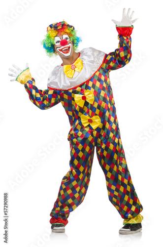 Funny clown isolated on white Fototapeta