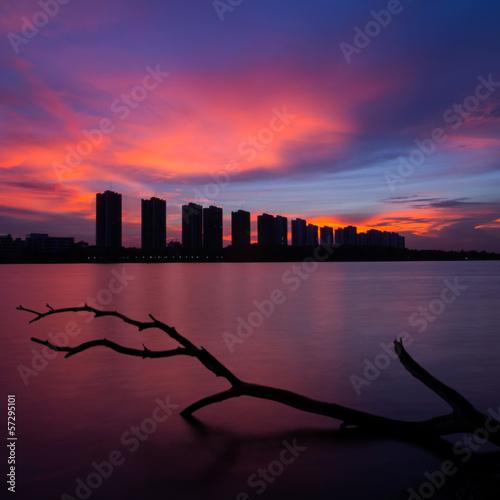 Foto op Plexiglas Crimson CItyscape modern residential