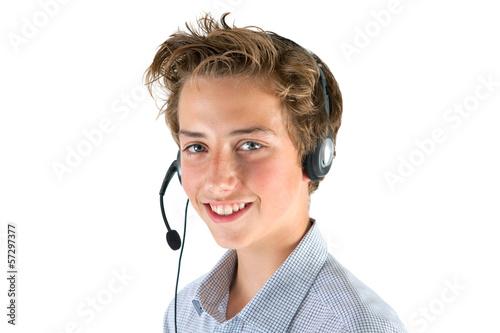 Valokuva  junger Mann mit Headset