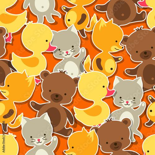 bezszwowy-wzor-z-dziecko-kotem-niedzwiedziem-lisem-i-kaczka