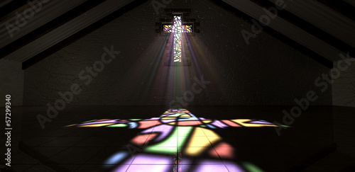 Stained Glass Window Crucifix Light Ray Color Canvas Print