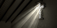 Stained Glass Window Crucifix Illuminated Light Rays