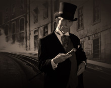 Man 1900 Style Wearing Black Hat And Coat. Dickens Style In Nigh