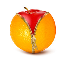 Unzipped Orange With Red Apple...