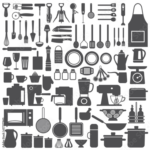Kitchen related utensils and appliances silhouette icons Canvas Print