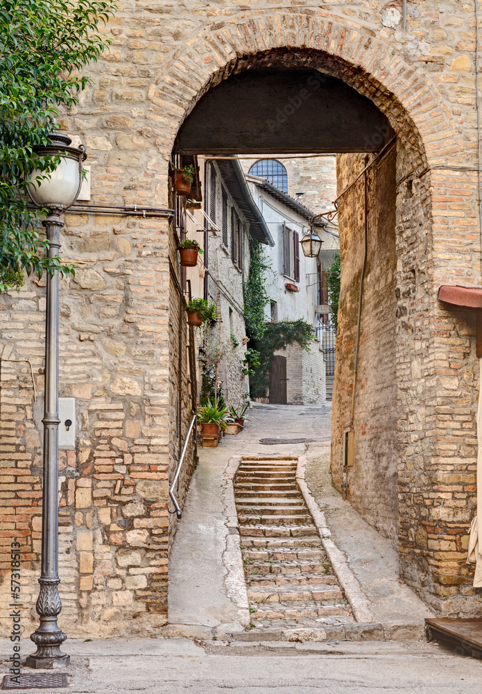 Fototapeta ancient alley in Bevagna, Italy