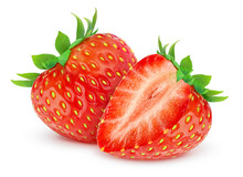 Isolated Strawberries. Two Cut...