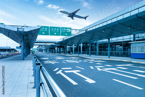 Photo sur Toile Aeroport Shanghai Pudong Airport road