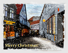 Illustration Of Snowy Street. ...
