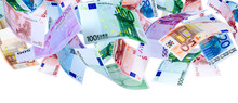 Panoramic Image Of Falling Euro Banknotes Isolated On White