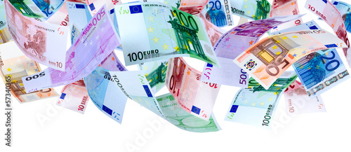 Fotografía  Panoramic image of falling Euro banknotes isolated on white