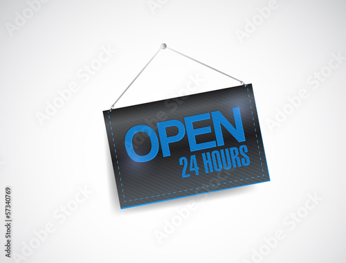 Fényképezés  open 24 hours hanging banner illustration design