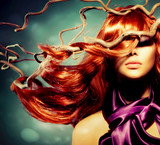 Fashion Model Woman Portrait with Long Curly Red Hair