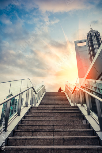 Aluminium Prints Stairs urban outdoor stairs in sunset