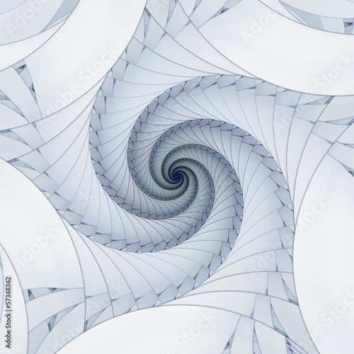 Naklejka na drzwi Abstract fractal blue spiral on the white background