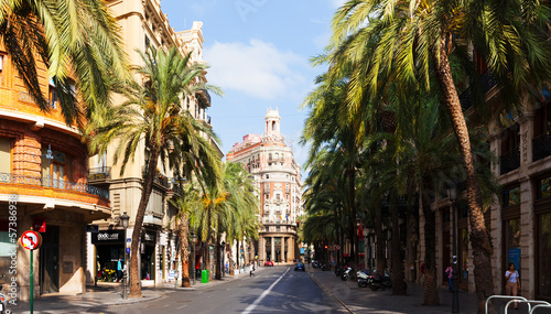 Street with Valencia Bank Building. Valencia, Spain