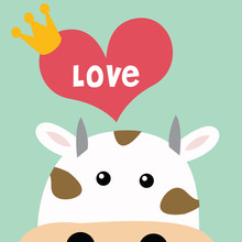 Cow With Love Greeting Card