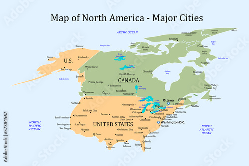 Map Of North America And Canada With Cities.Map Of North America Major Cities Buy This Stock Vector And