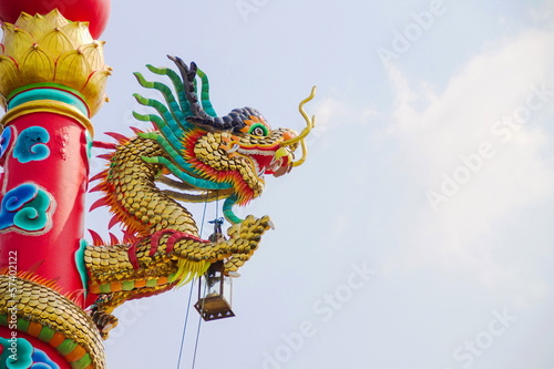 dragon decoration on the roof in the temple chinese architecture