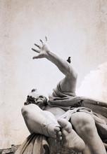 Artwork In Retro Style, Rome, Navona Square, Fountain Of The Fou
