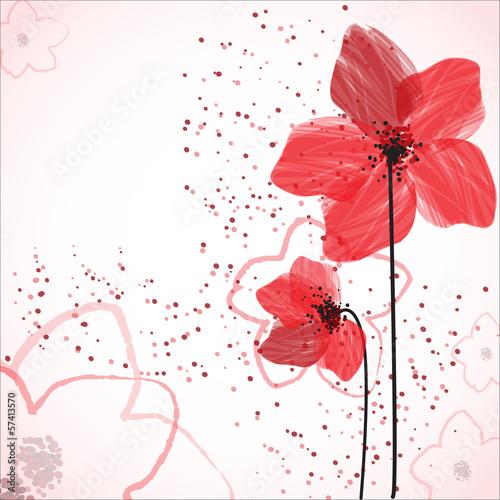 Keuken foto achterwand Abstract bloemen red flowers