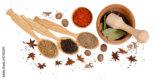 Foto op Canvas Kruiden 2 Various spices and herbs isolated on white