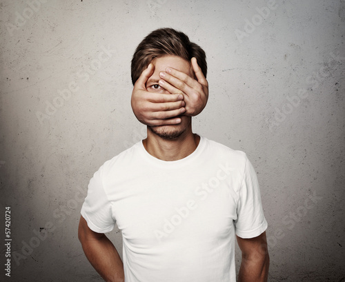 Fotografie, Obraz  man with hands on his face