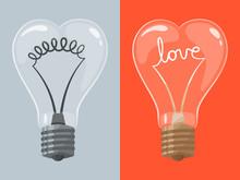 Love Lightbulb In Shape Of Heart. Vector Illustration.