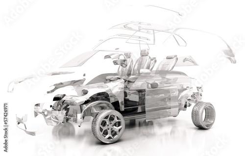 Fotografía  Auto Trasparente, Componenti, progetto 3d, tuning, motori