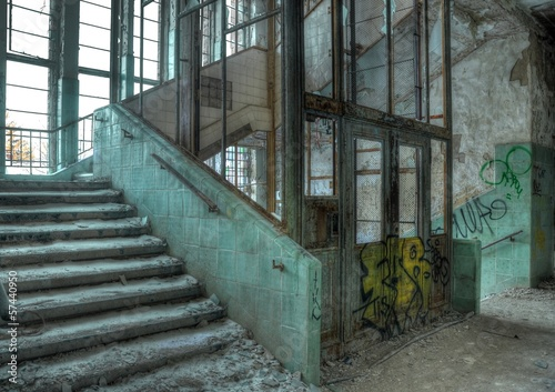 Wall Murals Old Hospital Beelitz Old elevator in an abandoned hospital in Beelitz