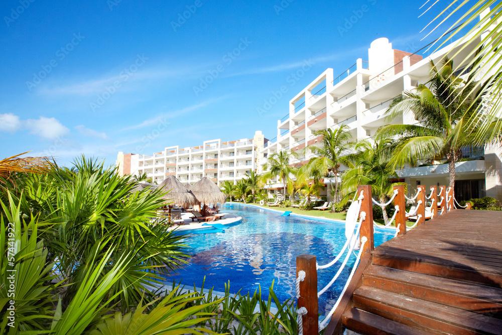 Fototapeta Swimming pool at caribbean resort.