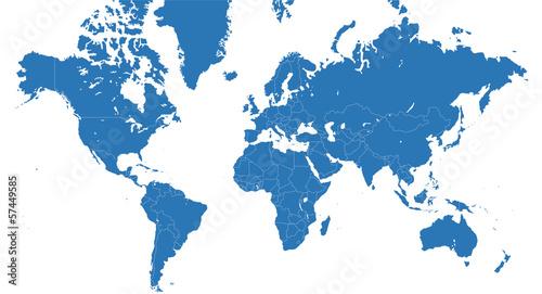 Planisfero vettoriale blu con confini nazioni