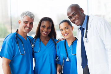 group of multiracial medical team in hospital