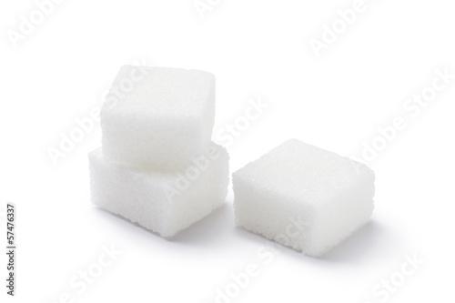 Fotografia Cubes of sugar on white background